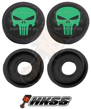 2 Black Custom License Plate Frame Tag Screw Cap Covers - PUNISHER SKULL CUA