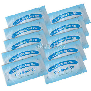 UK 100 Pc Dental Brush Up Whitening Finger Strips Wipes Deep Cleaning Oral Care