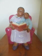 Bedtime Story Cookie Jar by Clay Art, in box Mother reading Mother Goose