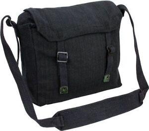 Highlander Webbing Haversack Army Military Cotton Canvas Shoulder Bag Black