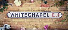 Vintage Wood LONDON street road sign,  WHITECHAPEL E1