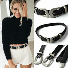 Lady Boho Fashion Women Vintage Metal Leather Double Buckle Waist Belt Waistband