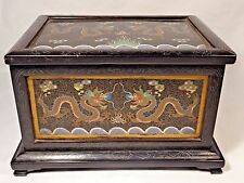 19th C. Qing [Ching] Dyn. Chinese Cloisonne and Wood Five Claw Dragon Box