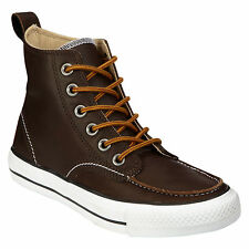 Nuevo Converse All Star Clásico De Bota Hi Top de cuero marrón chocolate Tobillo Zapatos 4