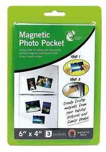 "6"" X 4"" MAGNETIC PHOTO 3PK PICTURE PHOTOGRAPH HOLDERS POCKETS FRIDGE MAGNET"