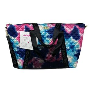 Luv Betsey Johnson Tie Dye Blue Overnighter Weekender Bag Tote Travel Quilted