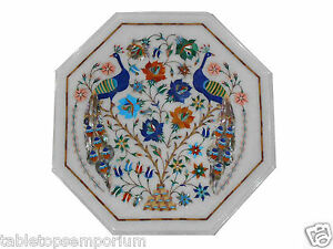"12"" White Marble Coffee Table Top Multi Inlay Peacock Design Furniture Decor"