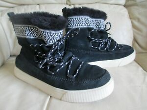 TOMS Ladies Black Suede Leather Ankle Boots - UK 5.5