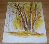 VINTAGE SUNRISE DAWN GOLDEN SUNLIGHT BIRCH BARE TREES LANDSCAPE W/C ART PAINTING