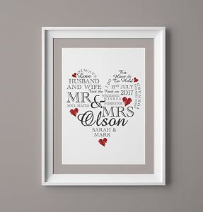 Wedding Day Print Personalised Word Art Gift Marriage Present Heart UNFRAMED A4