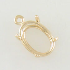 PRENOTCHED OVAL DANGLE SETTING 14X10MM IN YELLOW GOLD CD1410OV-10KY