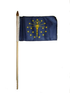 """Wholesale Lot of 3 6x9 6""""x9"""" State of Indiana Stick Flag wood Staff"""