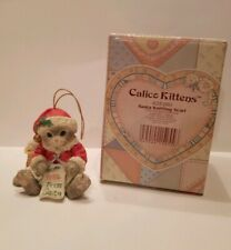 Calico Kittens: Santa Knitting Scarf - 625280 Ornament Enesco Priscilla Hillman