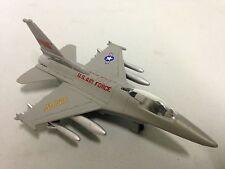 """Lockheed Martin F-16 Falcon US Aircraft 6.25"""" Diecast 1:92 Pull Back Toy Gray"""