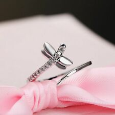 Adjustable Engagement Dragonfly Zircon Opening Ring Silver Plated