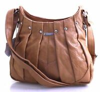 Women Lorenz Genuine Leather Handbag Soft Cross Body Shoulder Bag Tan Uk Seller