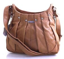 Women Lorenz Genuine Leather Handbag Soft Cross Body Shoulder Bag Tan Uk Seller