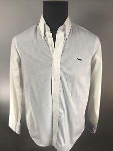 Harmont & Blaine Men's Button Blue Striped White Down Shirt Medium M
