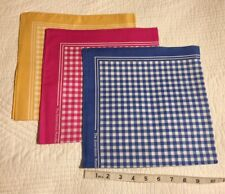 Enormous Handkerchief Men's Large Blue/Pink/Yell Gingham Cotton Hankies,Set Of 3