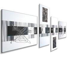 MK1 Art Bild Leinwand Abstrakt Gemälde Kunst Malerei Acryl Bilder grau XXL