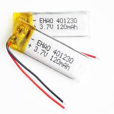 2 pcs 3.7V 120mAh 401230 lipo rechargeable Battery For Mp3 gps headphone headset