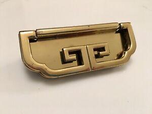 Thomasville Mystique Asian Brass Dresser Drawer Campaign Greek Key Pull Handle
