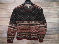 Vintage LL Bean S Brown Red Cardigan Sweater Fair Isle Shetland Wool Button Smal