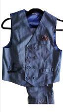 2 Piece Suit Denim Blue Look Double Breasted Vest Chain Detail Pants Size 10 Boy