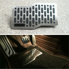 Non-slip Car Carpets Floor Mats Heel Plate Pedal Footrest Foot Rest Black+Silver