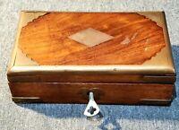 Vintage Brass & Wood Locking Trinket Box (locks, key included)