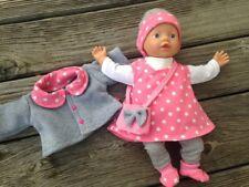 Kleidung + Jacke für Puppen Gr. 32 little Baby Born Muffin Corolle STERNE rosa