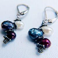 Vintage Earrings .925 Sterling Silver Drop Dangle Artisan Pearls Beads