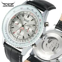 JARAGAR Casual Men's Automatic Mechanical Watch Steel Case Leather Band Strap