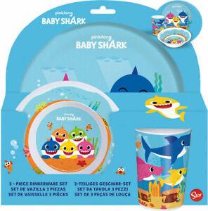 Pinkfong Baby Shark 3PC BPA Free Melamine Dining Set - Plate Bowl & Tumbler