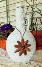 White Vase, Recycled Glass Bottle Decanter w Mosaic Beads & Wood Pendant