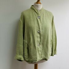 OSKA 100% Linen Jacket Size 2 Green 3/4 Sleeve MOP Buttons Pockets Lagenlook