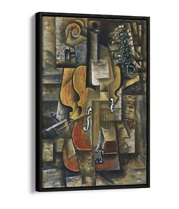 PABLO PICASSO VIOLIN AND GRAPE -FLOAT EFFECT CANVAS WALL ART PIC PRINT-