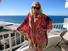 Plus Size Silk Kaftan Top Beach Coverup Paisley Stylish Resort Cruise Wear 90 Cm 195 Red