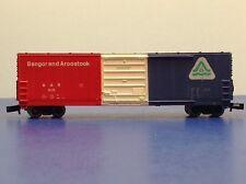 "N Scale ""Bangor & Aroostock"" BAR 9125 50' Freight Train Box Car / Life-Like"