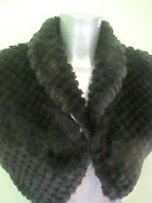 Black fluffy faux fur short sleeved cropped dressy bolero jacket 14