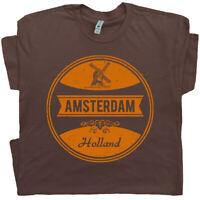 Amsterdam T Shirt Holland Netherlands Vintage Graphic Tee Crest Flag Marijuana T