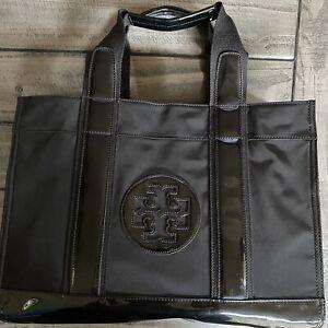 Tory Burch Classic Nylon Patent Leather Tote Shopper Bag Black Large