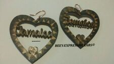 5cm JAMAICA HEART pyrography (burnt effect) Earrings- *By BEE'S EXPRESSIVE EARS*