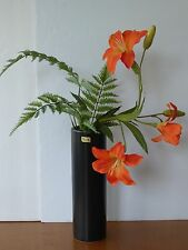"""Japanese Ikebana Vase 11.5""""H Black Matte Cylinder Shape /Made in Japan"""