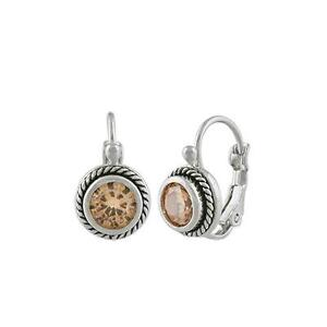 CHIC 18kt White Gold Plated Cable Brown Topaz CZ Crystal Petite Dainty Earrings