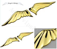 A Set Luxury Car Gold Metal Angel Wings Trunk Badge Emblem Hood Side Sticker