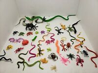 """Lot Of 42 Plastic Snakes,Bugs Creepy Crawlers GOOD CAKE TOPPERS. 1"""" to 12"""""""