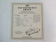 Danbury Mint Paperwork 1941 Chevy Pickup