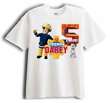 New Personalized Custom Fireman Sam Birthday T-Shirt Party Favor