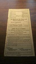AUGUST 1920 NEW HAVEN RAILROAD SPECIAL SUPPLEMENT LOCAL PASSENGER TARIFFS